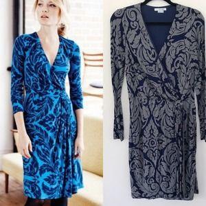 Boden Henrietta Gray Long Sleeve Faux Wrap Dress
